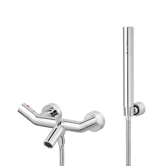 Bath/Shower Mixer W/Hand Shower & Hose & Wall Bracket